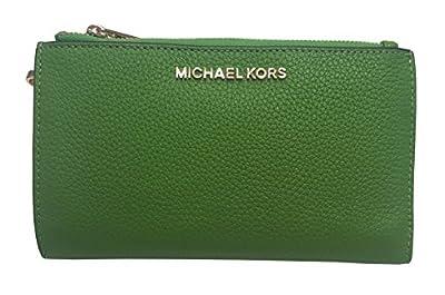 Michael Kors Jet Set Travel Double Zip Wristlet Leather Wallet 7-8 Jungle Green