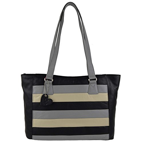 Black Blu A Borsa Donna Leather Multi Large Mala Marrone Spalla 78Bfq