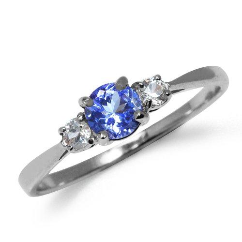 Silvershake Petite Genuine Tanzanite and White Sapphire 925 Sterling Silver Ring Size 7