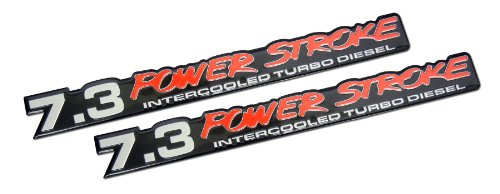 7.3 Liter Ford Truck Van Powerstroke Turbo Diesel Aluminum Emblems - Pair