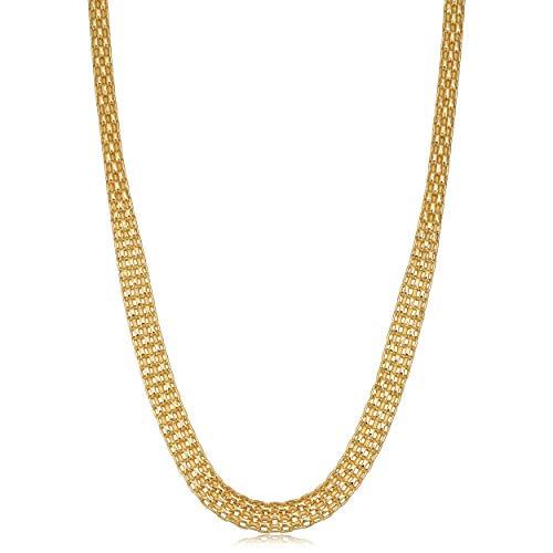 Kooljewelry 14k Yellow Gold Polished Bismark Necklace (17 inch)