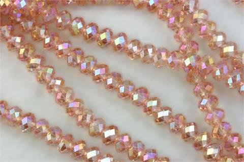 Chinese Crystal Glass Beads Faceted Rondelle 8mm Peach Pink Quartz AB [72 beads] (3624)