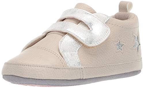 Ro + Me by Robeez Girls' Glitter Athletic Sneaker Crib Shoe, Taupe, 6-12 - Shoes Robeez Athletic