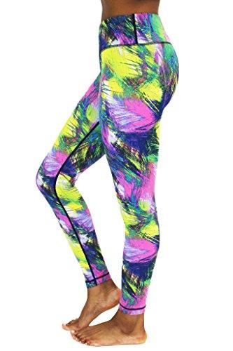 8a393772da 90 Degree by Reflex - Performance Activewear - Printed Yoga Leggings Print  137 Feather Mixed Vivid