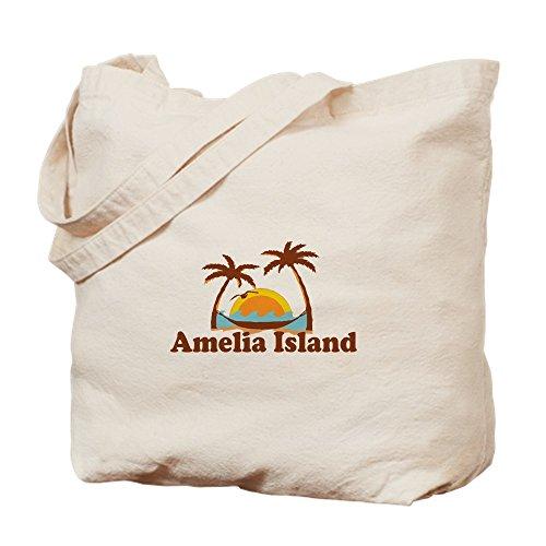 CafePress - Amelia Island - Palm Trees Design. - Natural Canvas Tote Bag, Cloth Shopping - Plantation Florida Shopping