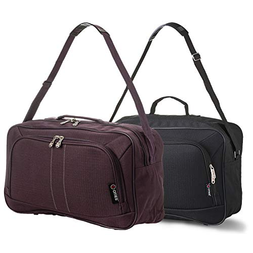 16 Inch Carry On Hand Luggage Flight Duffle Bag, 2nd Bag or Underseat, 19L (Black + Plum)