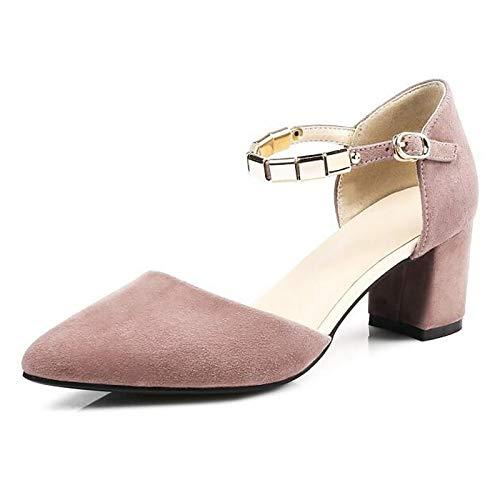 ZHZNVX Zapatos de Mujer Suede Spring Comfort Heels Chunky Heel Black/Pink Pink