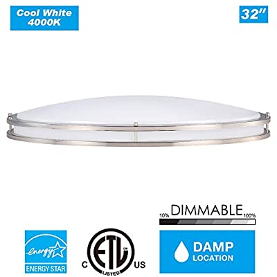 Cloudy Bay 32-inch OVFM3235840BN 4000K Cool White 120V Dimmable 35W 2800lm LED Oval Flush Mount Ceiling Fixture -360W Incandescent Equivalent, ETL Energy Star LED Flush Mount , Brush Nickel