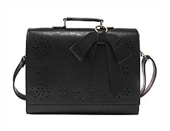 "ECOSUSI Ladies Vintage PU Leather Briefcase Laptop Bag Cases Crossbody Document Messenger Bags Fit 14"" Laptop, Black"