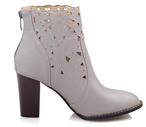 YE Damen High Heel Cut Out Stiefeletten mit Blockabsatz 8cm Absatz Fashion Designer Short Ankle Boots Herbst Schuhe Gray