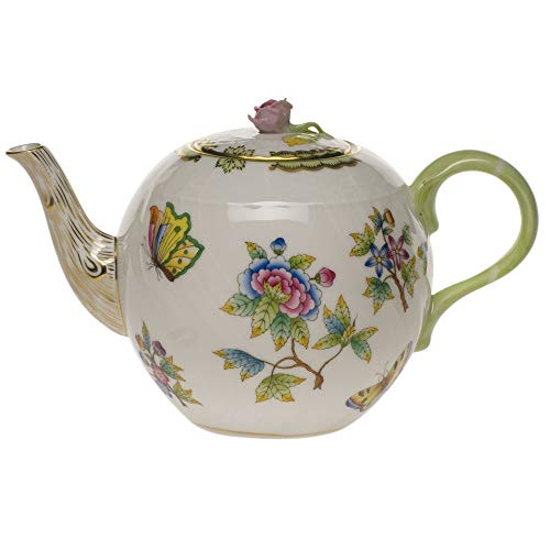 Herend Queen Victoria Green Porcelain Teapot With -