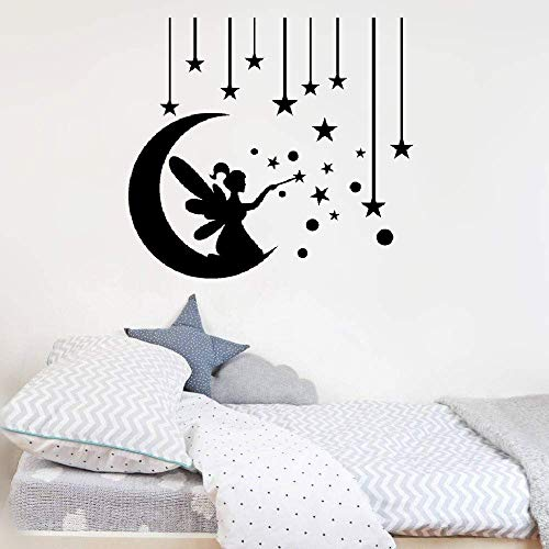 Toile Wall Letters - Woauy Removable Vinyl Decal Art Mural Home Decor Wall Stickers French Quote Croissant De Lune, ‰toiles Et Fe Pour Chambre D'Enfant Crescent Moon, Stars and Fairy for Kids Room
