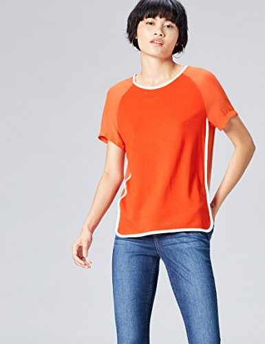 FIND Sheer Sleeve_short, Camiseta para Mujer Naranja (Sports Orange/ivory)