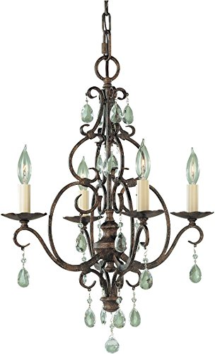 Chandelier Bronze Mini Four Light (Feiss F1904/4MBZ Chateau Swarovski Crystal Candle Chandelier Lighting, Bronze, 4-Light (17