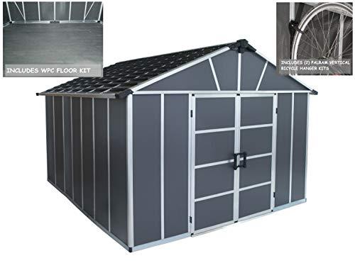 Palram HGK123 Yukon Storage Shed w/Floor and 2 Bike Hooks, 11×12, Gray