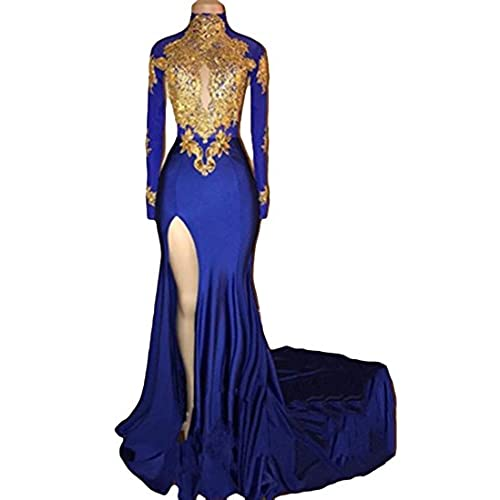 VikDressy Womens Mermaid High Neck Prom Dress 2018 With Gold Appliques Long Sleeves Evening Gowns