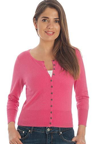 Adorawool Womens Cardigan Sweater Luxury Silk & Cotton Button Down Cropped Crew 3/4 Sleeve - Fuschia Pink - Size XL ()