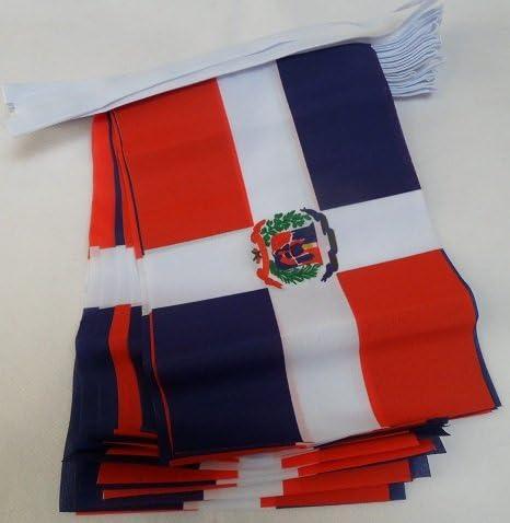 AZ FLAG Guirnalda 6 Metros 20 Banderas de la REPÚBLICA Dominicana 21x15cm - Bandera Dominicana 15 x 21 cm - BANDERINES