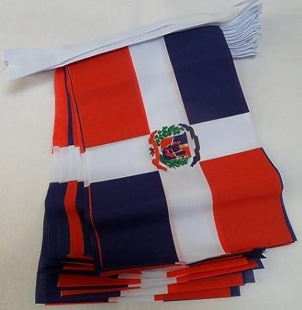 AZ FLAG Guirnalda 6 Metros 20 Banderas de la REPÚBLICA Dominicana 21x15cm - Bandera Dominicana 15 x 21 cm - BANDERINES: Amazon.es: Hogar