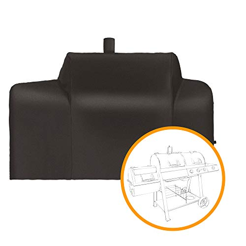 i COVER Grill Cover- Sized for Oklahoma Joe's 3 in 1 Longhorn Grill Smoker Combo Heavy Duty Water Proof Patio Outdoor Black Canvas Barbeque BBQ Grill/Smoker Cover,G21627. (Oklahoma Joes Longhorn Combo Grill And Smoker)