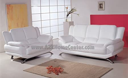 White Leather Sofa Loveseat Set