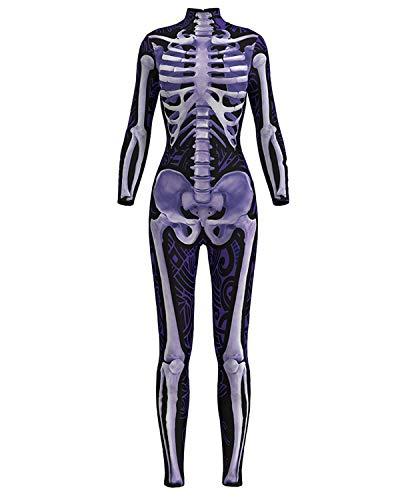 Women 3D Style Halloween Cosplay Costumes Jumpsuit Bodysuit (Medium, Purple Skeleton Jumpsuit)