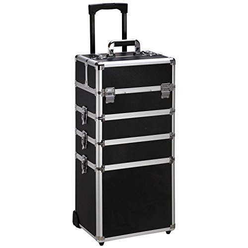 Ollieroo 4 in 1 Aluminum Rolling Cosmetic Makeup Train Cases Trolley Professional Artist Train Case Organizer Box Lift Handle Lock 2 wheel 2 Keys Each Layer Total 8 Keys Black (Case Rolling Makeup Professional)