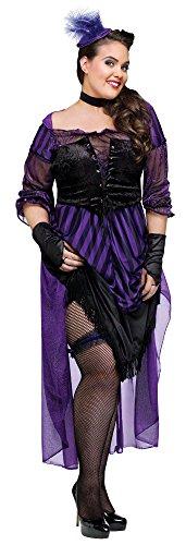 Lady Maverick Plus Costumes (Adult Saloon Girl Lady Maverick Costume Plus Size 16-22)