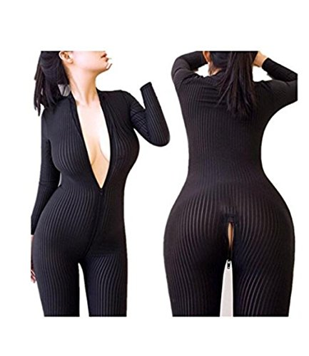 Happyjiu Women Striped Bodysuit Zipper Long Sleeve Open Crotch Lingerie Jumpsuit (Black) (Spandex Sexy)