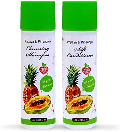 Papaya & Pineapple Natural Shampoo and Conditioner Set   Damaged, Frizzy, Brittle & Dry Hair Repair Treatment  Deep Conditioning, Hydrating & Moisturizing for Smooth, Soft, Silky Hair For Women