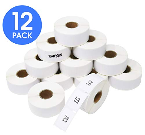 "Aegis Labels - 12 Rolls DYMO 30347 Compatible Library Book Spine 1"" X 1-1/2"" Replacement Labels for LW Labelwriter 450, 450 Turbo, 4XL (750/Roll)"