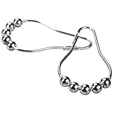 Heavy Duty Roller Shower Curtain Rings, Clipperton RollerRings, Set of 12, Roller Shower Curtain Hooks in Chrome
