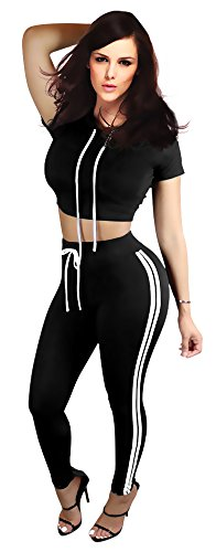 Women's Short Sleeve Hoody Crop Top and Drawstring Pant Suit (Micro Check Stretch Suit)