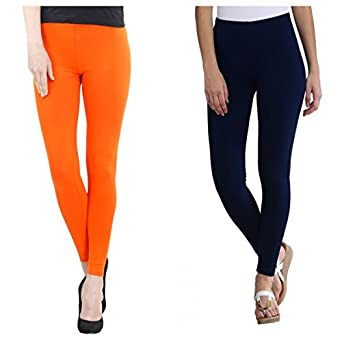 FashGlam Women Premium Ankle Length Leggings Combo - Orange,Navy Blue