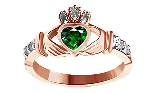Heart Shape Simulated Green Emerald Claddagh Ring in 14k Rose Gold Over Sterling Silver