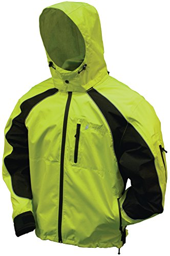 Frogg Toggs NT65119 Toadz Kikker II Reflective Waterproof Rain Jacket, Hivis Green with Black, Medium