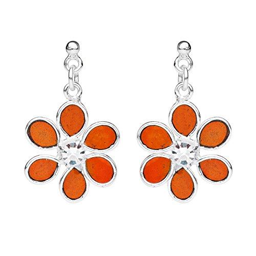 (Six Petal Floral Beauty Orange Resin Cubic Zirconia .925 Sterling Silver Stud Earrings)