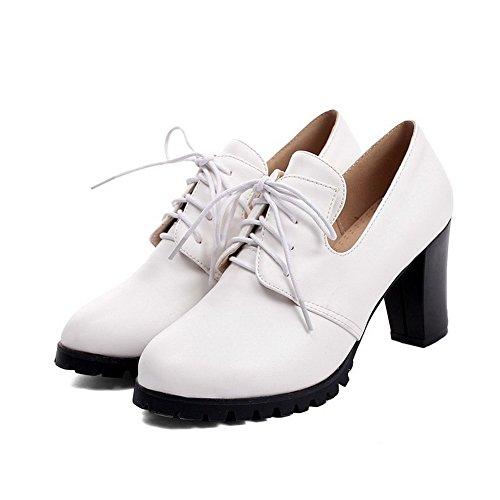 AllhqFashion Damen Schnüren Hoher Absatz PU Leder Rein Rund Zehe Pumps Schuhe Weiß