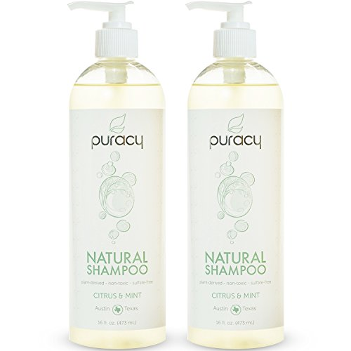 Puracy Natural Daily Shampoo [2-Pack], All Hair Types, Sulfate-Free, Non-Toxic, Citrus & Mint, 16 Ounce Pump Bottle [Set of 2]