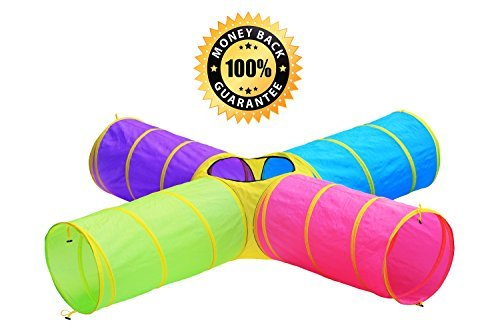 Kids 4-way 8ft of Fun Play Tunnel, Indoor & Outdoor Child Pop up Tunnel Toy, by (Kids Tunnels)