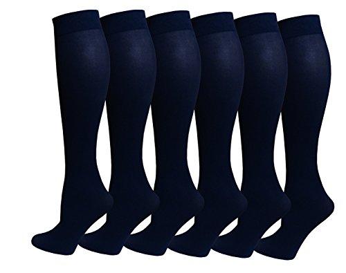 6 Pairs Women's Opaque Spandex Trouser Knee High Socks Queen Size 10-13 (Navy)