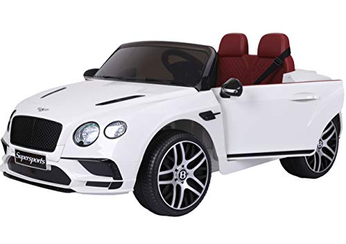 Two Seater Bentley Electric Toy Car 12V Battery JE1155 Ride On RC Parental Remote Controller Leather Seat Suitable for Boys Girls ()