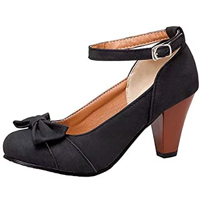 AbbyAnne Women Classic Spring Shoes Ankle Strap Cone Heels Pumps Wedding Party Heels Shoes Bow Solid Black Size 34
