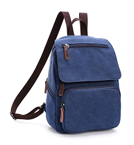 LINGTOM Unisex Canvas Backpack Cute School Rucksack Shoulder Bag Small Casual Daypack,Blue
