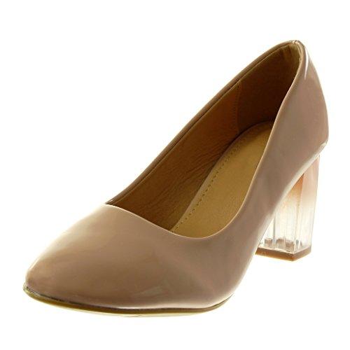 Angkorly Damen Schuhe Pumpe - Slip-on - Dekollete - Patent - Transparent - Farbgradienten Blockabsatz High Heel 7 cm Rosa