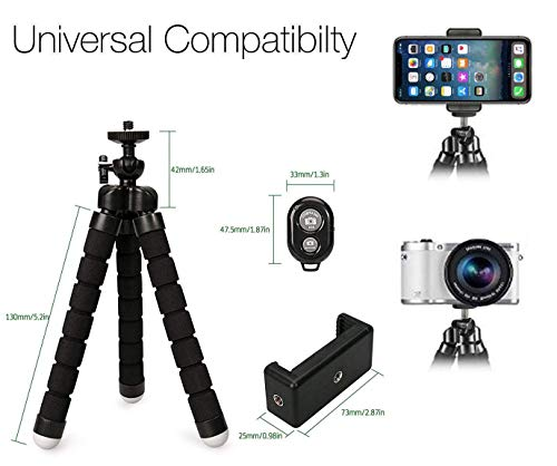 Phone Tripod, Portable and Adjustable Camera Stand Holder with Bluetooth Remote and Universal Clip for Any Smartphone, Cellphone, Phone, Android, Camera, GoPro | Flexible Mini iPhone Tripod by Auto Tech (Image #2)
