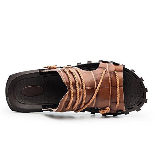 Sandalias del tamaño del nuevo sandalias del patrón del verano Sandalias de gran tamaño del ocio de las sandalias Zapatos del zurriago antideslizante, Brown, Reino Unido = 7.5, UE = 41 1/3