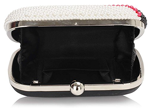 ANNA GRACE - Bolso pequeño al hombro de Con Cuentas para mujer Design 1 - Black/White