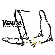 Venom Motorcycle Front Triple Tree & Rear Swingarm Spool Lift Combo Wheel Lift Stands For Yamaha FZ-07