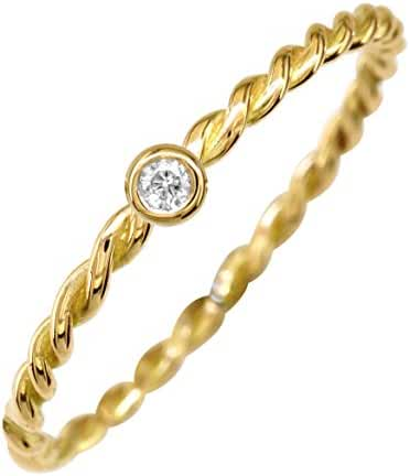 Thin Diamond Rope Ring in 14K Yellow Gold